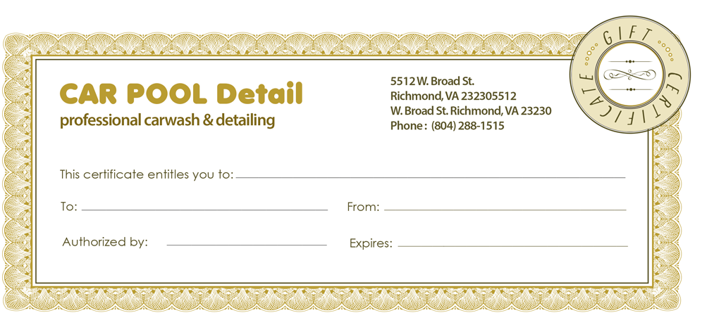 Auto Detail Gift Certificates Car Pool Detail